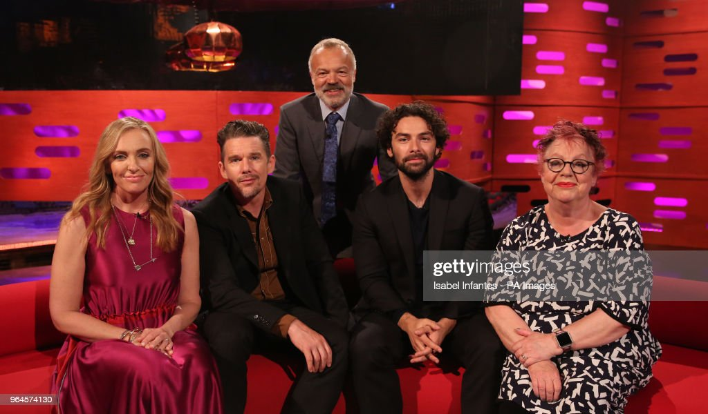 Host Graham Norton seated with (left to right) Toni Collette, Ethan Hawke, Aidan Turner and Jo Brand during the filming of the Graham Norton Show at BBC Studioworks 6 Television Centre, Wood Lane, London, to be aired on BBC One on Friday evening.
