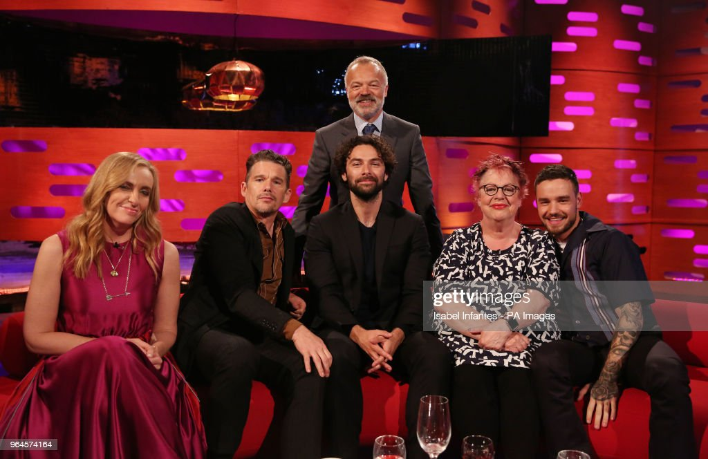 Host Graham Norton seated with (left to right) Toni Collette, Ethan Hawke, Aidan Turner, Jo Brand and Liam Payne during the filming of the Graham Norton Show at BBC Studioworks 6 Television Centre, Wood Lane, London, to be aired on BBC One on Friday evening.