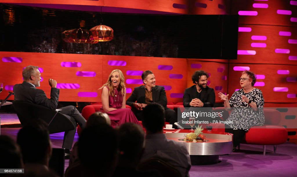 Host Graham Norton, Toni Collette, Ethan Hawke, Aidan Turner, and Jo Brand during the filming of the Graham Norton Show at BBC Studioworks 6 Television Centre, Wood Lane, London, to be aired on BBC One on Friday evening.