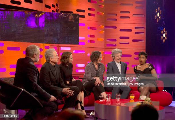 Host Graham Norton Warren Beatty Keeley Hawes Miranda Hart Peter Capaldi and Jennifer Hudson during the filming of the Graham Norton Show at The...