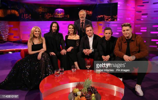 Host Graham Norton with Kylie Minogue Keanu Reeves Suranne Jones Taron Egerton Jamie Bell and Michael Rice during the filming for the Graham Norton...