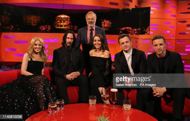 Host Graham Norton with Kylie Minogue Keanu Reeves Suranne Jones Taron Egerton and Jamie Bell during the filming for the Graham Norton Show at BBC...