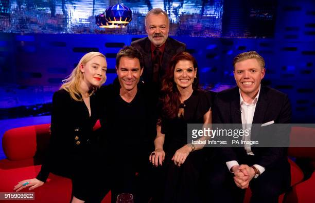 Host Graham Norton with Saoirse Ronan Eric McCormack Debra Messing and Rob Beckett during filming of the Graham Norton Show at The London Studios to...