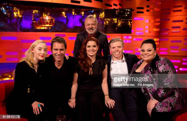 Host Graham Norton with Saoirse Ronan Eric McCormack Debra Messing Rob Beckett and Keala Settle during filming of the Graham Norton Show at The...