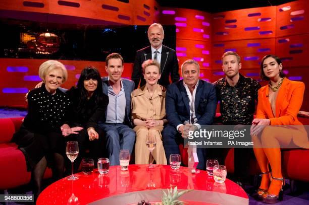 Host Graham Norton with seated left to right Mary Berry Claudia Winkleman Benedict Cumberbatch Maxine Peake Matt LeBlanc Calvin Harris and Dua Lipa...