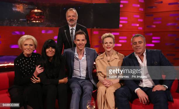 Host Graham Norton with seated Mary Berry Claudia Winkleman Benedict Cumberbatch Maxine Peake and Matt LeBlanc during the filming of the Graham...