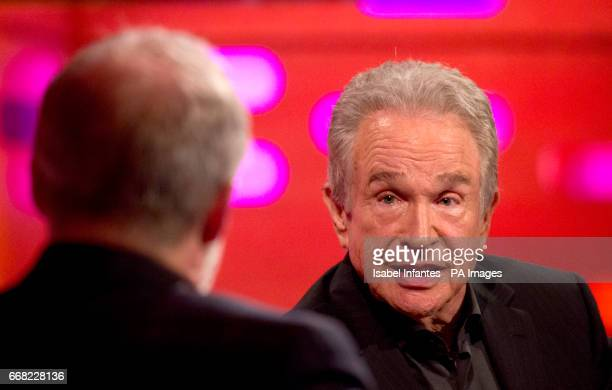 Host Graham Norton with Warren Beatty during the filming of the Graham Norton Show at The London Studios to be aired on BBC One on Friday