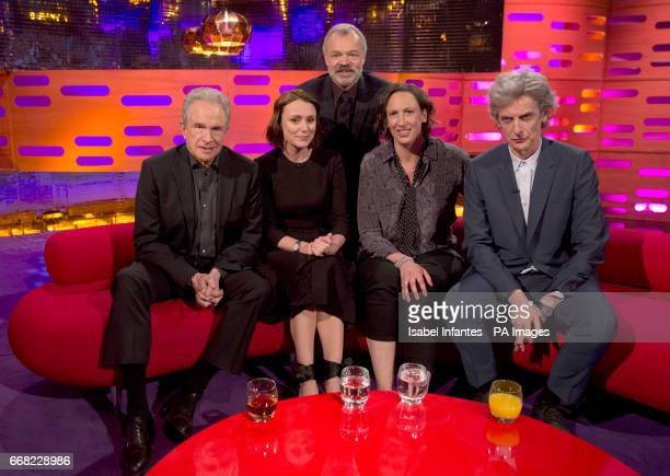 Host Graham Norton with Warren Beatty Keeley Hawes Miranda Hart and Peter Capaldi during the filming of the Graham Norton Show at The London Studios...