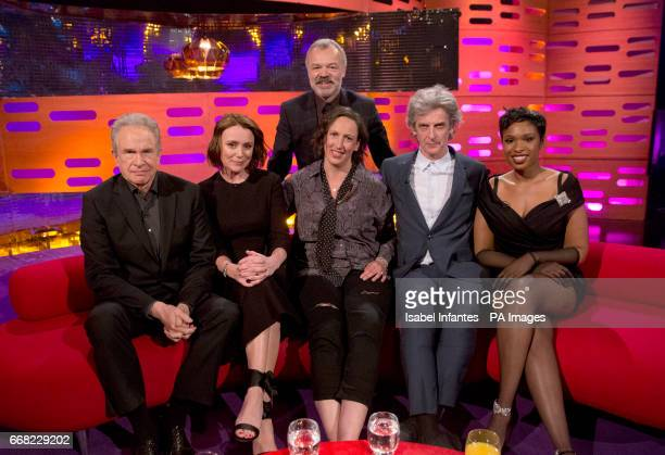Host Graham Norton with Warren Beatty Keeley Hawes Miranda Hart Peter Capaldi and Jennifer Hudson during the filming of the Graham Norton Show at The...