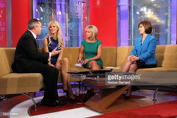 Host Gretchen Carlson interviews Tareq Salahi and Michaele Salahi and author Diane Diamond looks on from the set of FOX Friends at the FOX studios on...