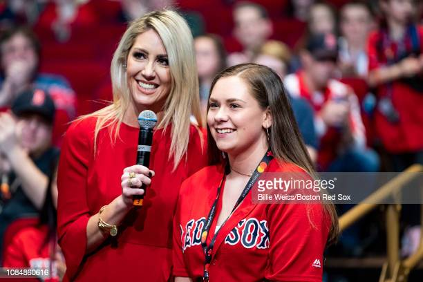 NESN host Guerin Austin fields a question during a Boston Red Sox Town Hall during the 2019 Red Sox Winter Weekend on January 18 2019 at Foxwoods...