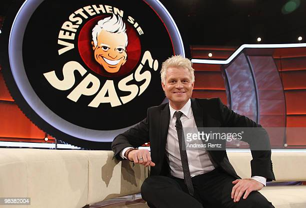 TV host Guido Cantz poses during the 'Verstehen Sie Spass' television show on April 10 2010 in Halle Germany