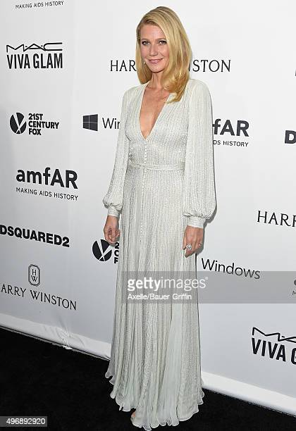 Host Gwyneth Paltrow arrives at amfAR's Inspiration Gala Los Angeles at Milk Studios on October 29 2015 in Hollywood California