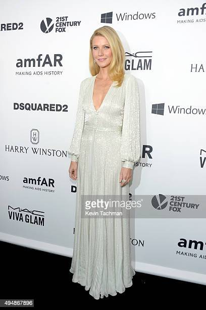 Host Gwyneth Paltrow arrives at the amfAR Inspiration Gala at Milk Studios on October 29 2015 in Hollywood California