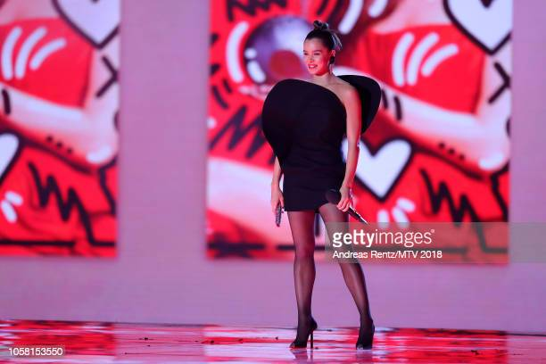 Host Hailee Steinfeld on stage during the MTV EMAs 2018 at Bilbao Exhibition Centre on November 4 2018 in Bilbao Spain