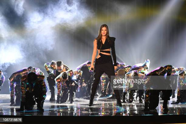 Host Hailee Steinfeld performs on stage during the MTV EMAs 2018 at Bilbao Exhibition Centre on November 4 2018 in Bilbao Spain