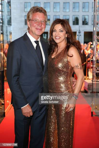 Host HansJoachim Flebbe and Alice Brauner daughter of Artur Brauner CCC Film during the 100th bitrhday celebration gala for Artur Brauner at Zoo...