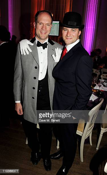Host Harry Blain and £2m winning bidder of Damien Hirst's 'Shark's Jaw With White Rose Butterflies' Emmanuel Di Donna attend The Surrealist Ball in...