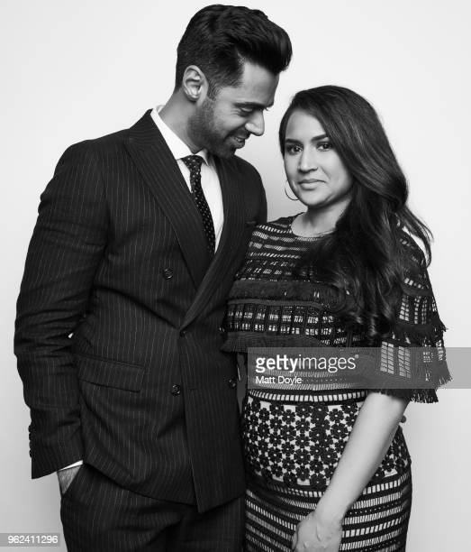 Host Hasan Minhaj and wife Beena Patel Minhaj pose for a portrait at The 77th Annual Peabody Awards Ceremony on May 19 2018 in New York City