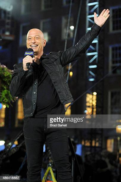 Host Howie Mandel speaks onstage at the Impractical Jokers 100th Episode Live Punishment Special at the South Street Seaport on September 3 2015 in...