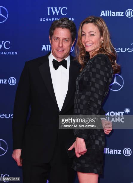 Host Hugh Grant and Anna Eberstein attend the 2017 Laureus World Sports Awards at the Salle des EtoilesSporting Monte Carlo on February 14 2017 in...