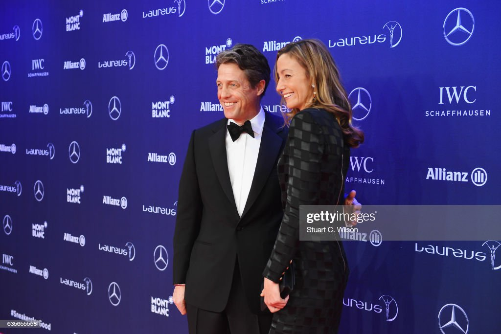 Host Hugh Grant and Anna Eberstein attend the 2017 Laureus World Sports Awards at the Salle des Etoiles,Sporting Monte Carlo on February 14, 2017 in Monaco, Monaco.