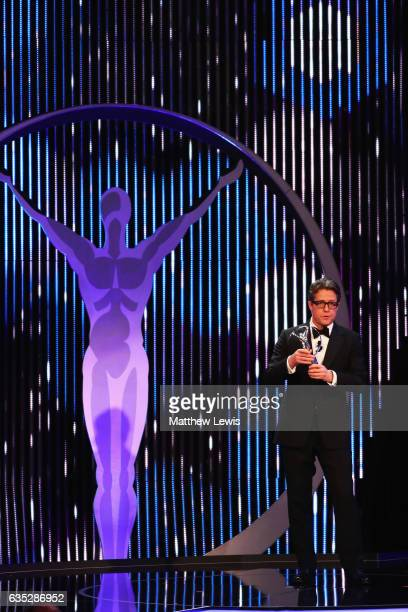 Host Hugh Grant on stage during the 2017 Laureus World Sports Awards at the Salle des EtoilesSporting Monte Carlo on February 14 2017 in Monaco Monaco