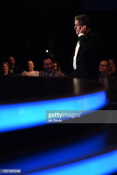 Host Hugh Grant speaks during the 2020 Laureus World Sports Awards at Verti Music Hall on February 17 2020 in Berlin Germany
