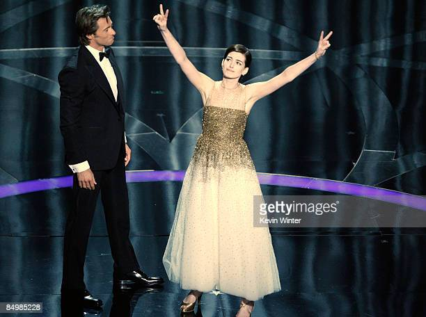 Host Hugh Jackman and actress Anne Hathaway perform during the 81st Annual Academy Awards held at Kodak Theatre on February 22 2009 in Los Angeles...