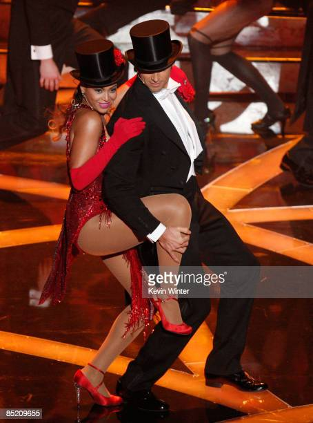 Host Hugh Jackman and Singer Beyonce Knowles perform on stage during the 81st Annual Academy Awards held at Kodak Theatre on February 22 2009 in Los...