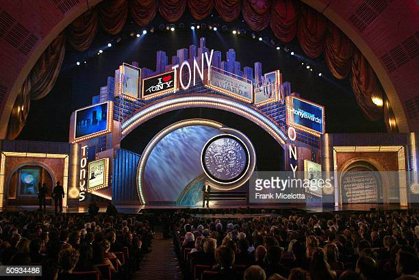 Host Hugh Jackman appears on stage during the 58th Annual Tony Awards at Radio City Music Hall on June 6 2004 in New York City The Tony Awards are...