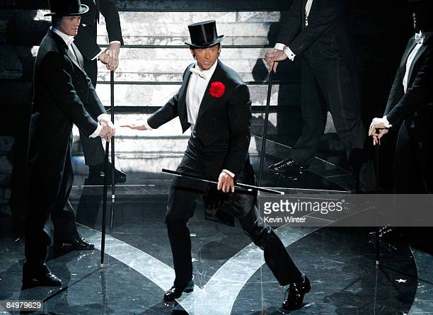 Host Hugh Jackman performs on stage during the 81st Annual Academy Awards held at Kodak Theatre on February 22, 2009 in Los Angeles, California.