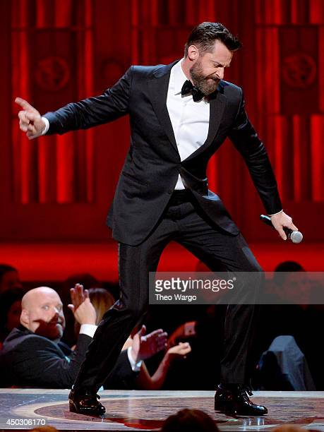 Host Hugh Jackman performs onstage during the 68th Annual Tony Awards at Radio City Music Hall on June 8 2014 in New York City
