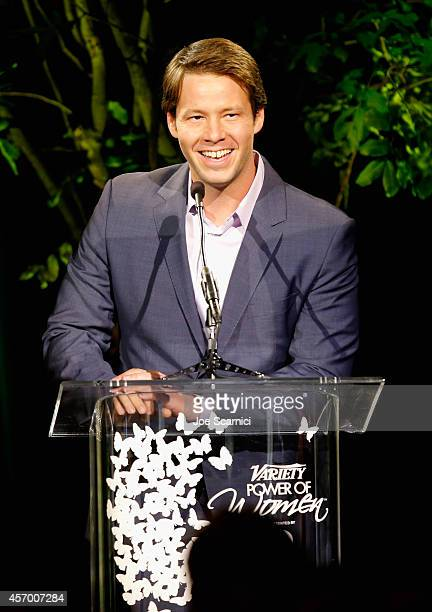 Host Ike Barinholtz speaks onstage at 2014 Variety Power of Women presented by Lifetime at Beverly Wilshire Four Seasons on October 10 2014 in Los...