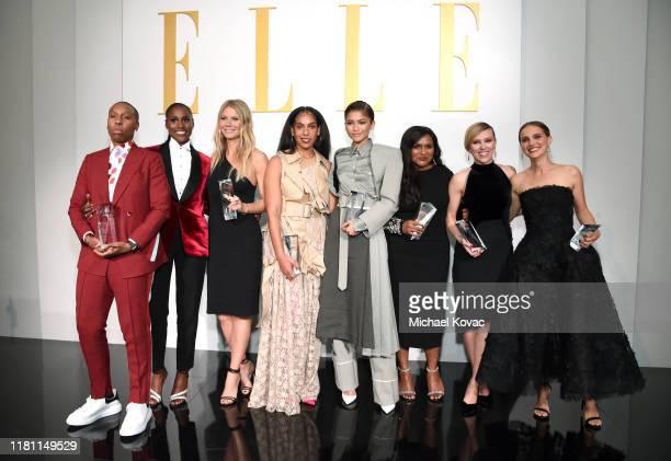 Host Issa Rae poses with honorees Lena Waithe Gwyneth Paltrow Melina Matsoukas Zendaya Mindy Kaling Scarlett Johansson and Natalie Portman during...
