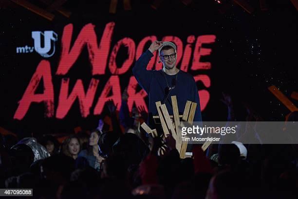 Host Jack Antonoff speaks onstage at the 2015 mtvU Woodie Awards on March 20 2015 in Austin Texas