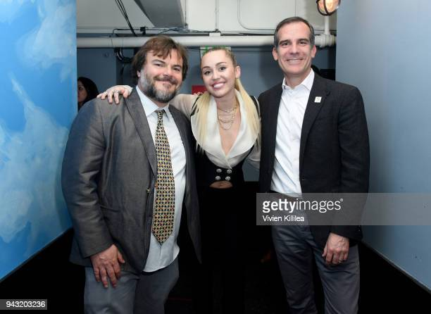 Host Jack Black honoree Miley Cyrus and Eric Garcetti Mayor of Los Angeles attend the My Friend's Place 30th Anniversary Gala at Hollywood Palladium...