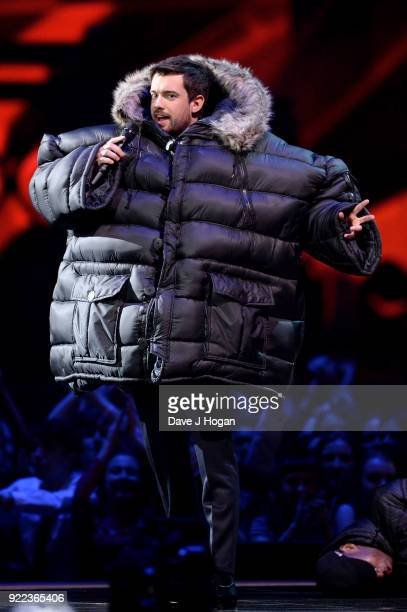 AWARDS 2018 *** Host Jack Whitehall speaks on stage at The BRIT Awards 2018 held at The O2 Arena on February 21 2018 in London England