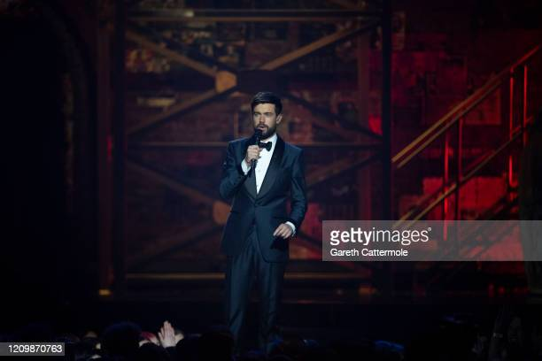 Host Jack Whitehall speaks on stage during The BRIT Awards 2020 at The O2 Arena on February 18 2020 in London England