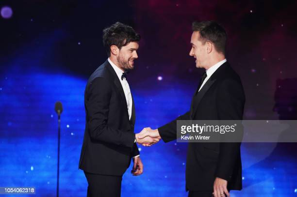 Host Jack Whitehall welcomes Matthew Macfadyen onstage at the 2018 British Academy Britannia Awards presented by Jaguar Land Rover and American...