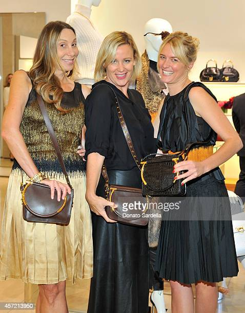 Host Jacqui Getty Baby2Baby's Ali Taekman and stylist Anita Patrickson attend Ferragamo Shopping Event with Jacqui Getty benefitting Baby2Baby at the...