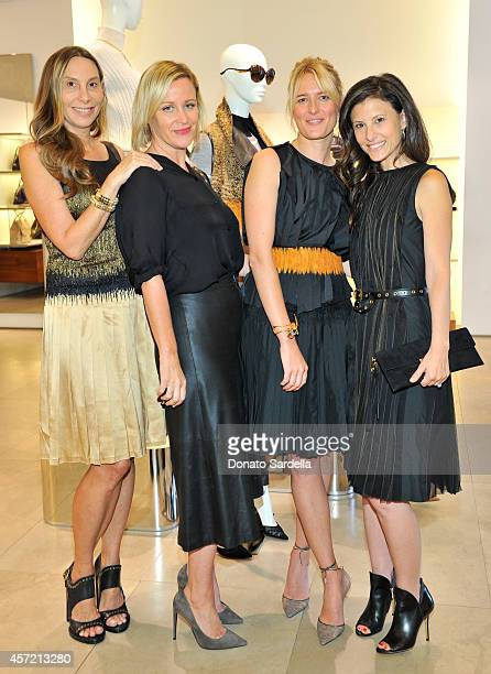 Host Jacqui Getty Baby2Baby's Ali Taekman stylist Anita Patrickson and Baby2Baby's Norah Weinstein attend Ferragamo Shopping Event with Jacqui Getty...