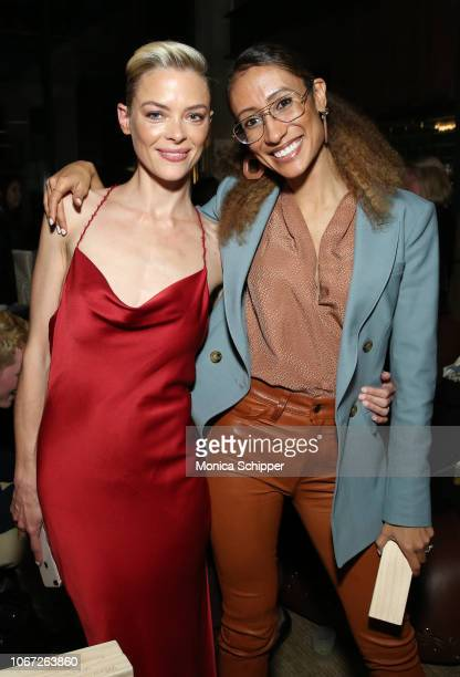 Host Jaime King and Elaine Welteroth attend the BumbleSpot #attheMoxy launch at Moxy NYC Downtown on November 13 2018 in New York City