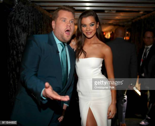 Host James Corden and actor Hailee Steinfeld attend the 60th Annual GRAMMY Awards at Madison Square Garden on January 28 2018 in New York City