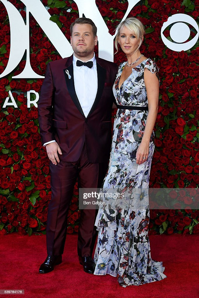 Host James Corden (L) and Julia Carey attend the 70th Annual Tony Awards at The Beacon Theatre on June 12, 2016 in New York City.