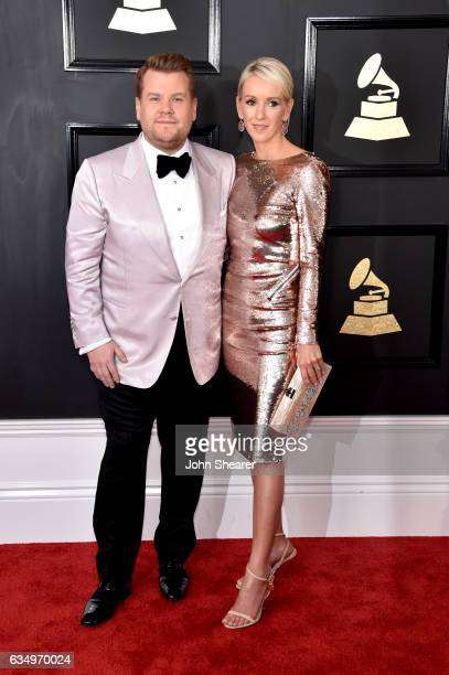 Host James Corden and producer Julia Carey attend The 59th GRAMMY Awards at STAPLES Center on February 12 2017 in Los Angeles California