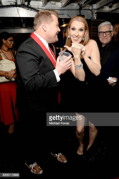 Host James Corden and recording artist Celine Dion attend The 59th GRAMMY Awards at STAPLES Center on February 12 2017 in Los Angeles California