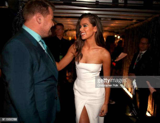 Host James Corden and recording artist Hailee Steinfeld attend the 60th Annual GRAMMY Awards at Madison Square Garden on January 28 2018 in New York...