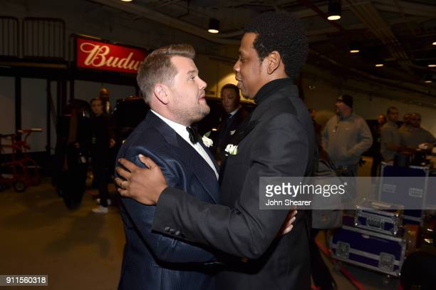 Host James Corden and recording artist JayZ attend the 60th Annual GRAMMY Awards at Madison Square Garden on January 28 2018 in New York City
