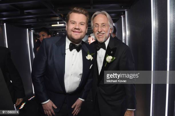 Host James Corden and the Recording Academy and MusiCares President/CEO Neil Portnow pose backstage at the 60th Annual GRAMMY Awards at Madison...